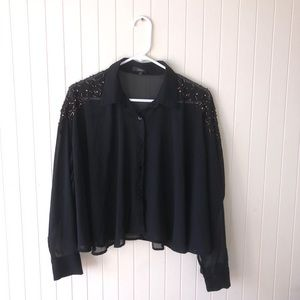 Millau Black See Through Blouse